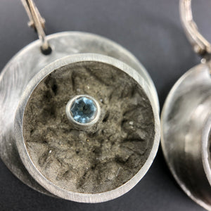 Blue topaz and concrete earrings