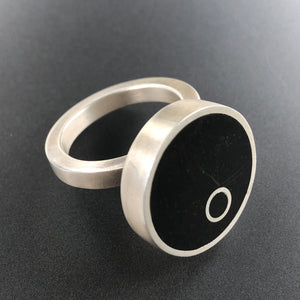 Peek-A-Boo round ring. Concrete and sterling silver.  Sizes 6, 7, and 8