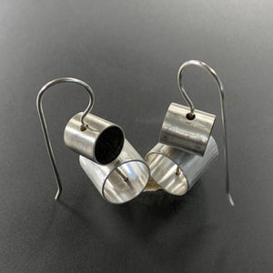 Stacked concrete and sterling silver earrings