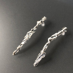 Curved organic sterling silver earrings