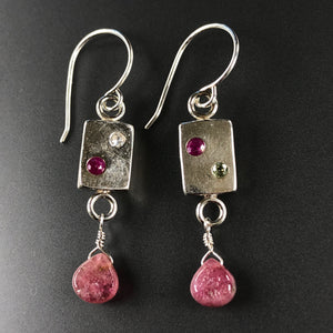 Sapphire tile earrings with tourmaline
