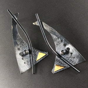 Sail silver, gold, and white topaz earrings