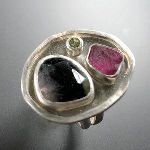 Tourmaline, ruby, and peridot ring.  Size 6.75