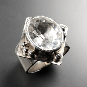 White quartz cocktail ring in sterling silver.  Size 6.5