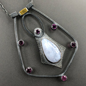 Hyalite opal and rhodolite garnets cluster necklace