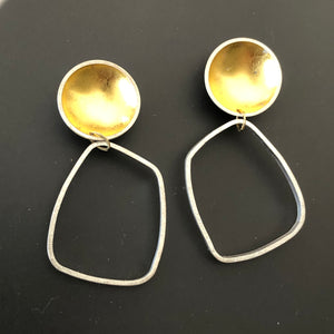 Golden orb long earrings