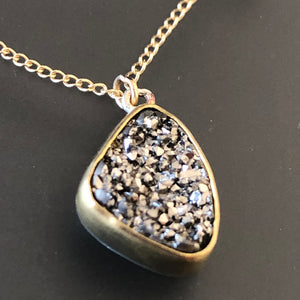 Platinum druzy necklace