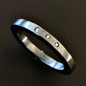 Diamante black band ring.  Size 8.