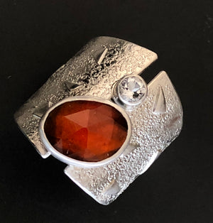 Carnelian and topaz shield ring.  Size 7.75.