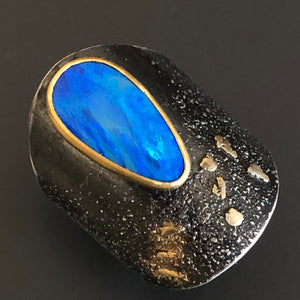 Drop opal shield ring.  Size 8.