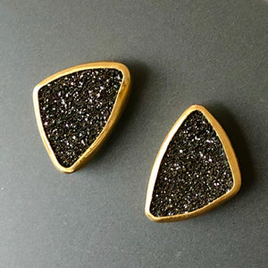 Black knight druzy and gold earrings