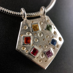 Silver and fancy multi-color sapphire pentagon necklace