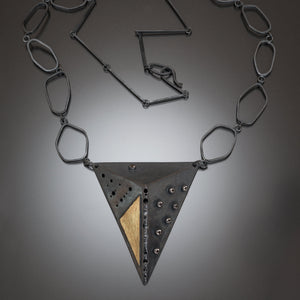Shield necklace with handmade chain