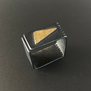Edgy square ring in sterling silver and 18K gold.  Size 7 - 7.5