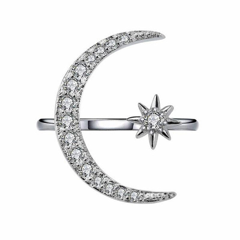 'Ivana' Crystal Moon Open Ring