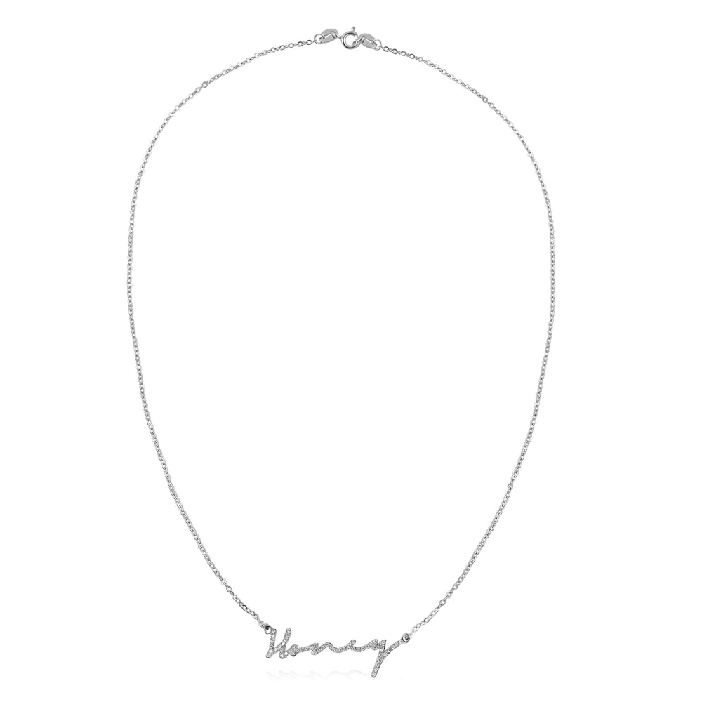 'Honey' Crystal Logo Pendant Necklace