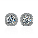 'Rianne' Cushion Halo Crystal Earrings