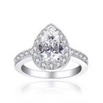 'Chloe' Halo Pear-Cut Crystal Ring