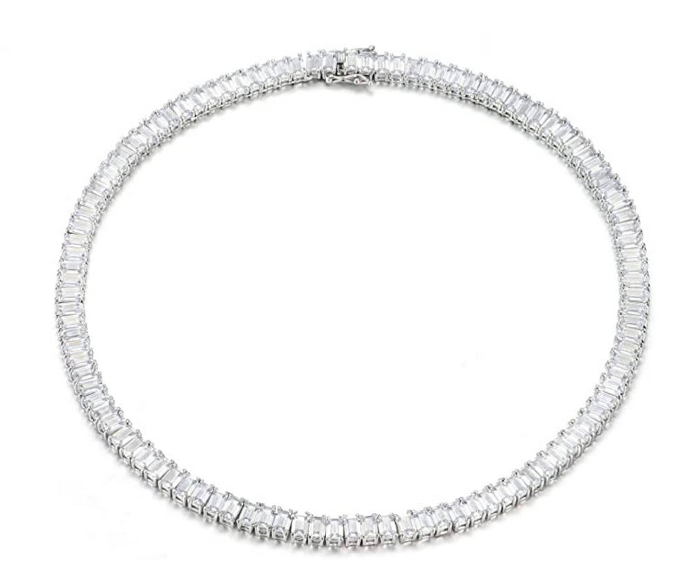 'Pricey' Crystal Emerald-Cut Eternity Necklace