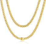 'Evelina' 4MM Cuban Link Chain Necklace - Gold