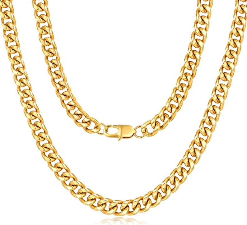 'Evelina' 9MM Cuban Link Chain Necklace - Gold