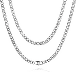 'Evelina' 4MM Cuban Link Chain Necklace - Silver