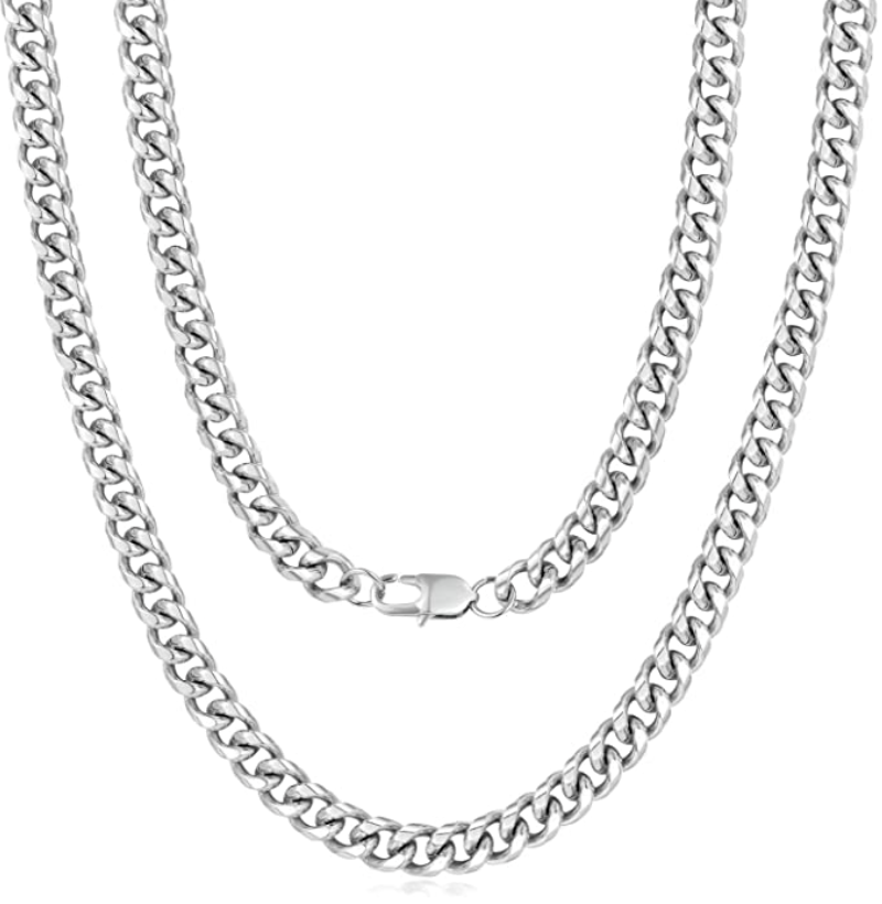 'Evelina' 6MM Cuban Link Chain Necklace - Silver