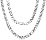 'Evelina' 9MM Cuban Link Chain Necklace - Silver