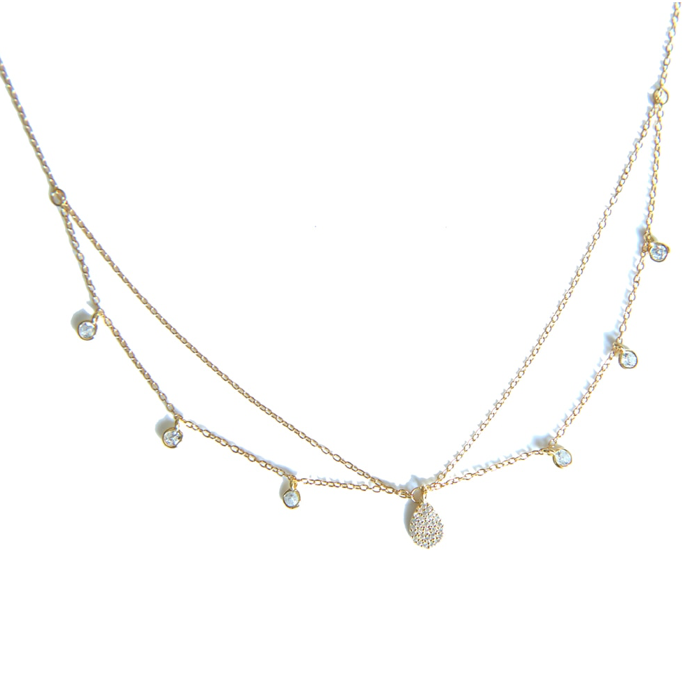 'Savina' Double Layered Crystal Necklace