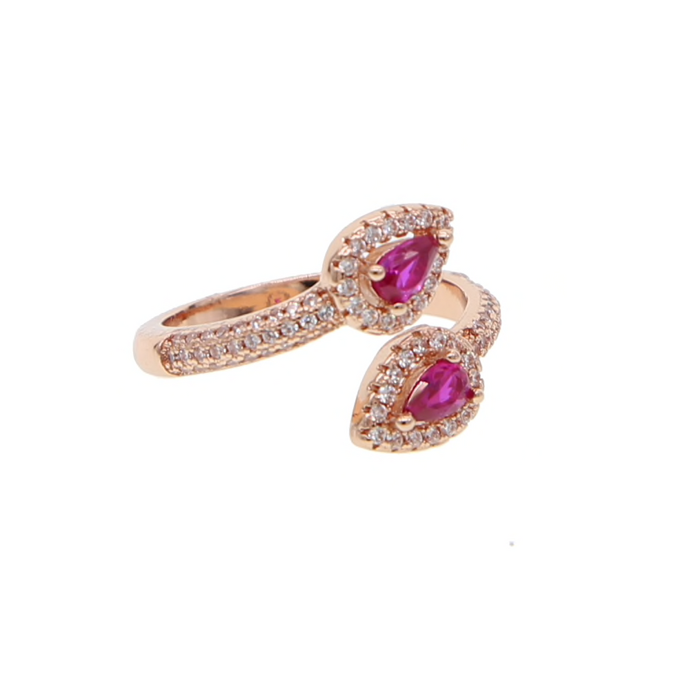 Taura – Teardrop Eternity Ring, Fascinating teardrop halo ring , Ring with adjustable sizing for comfort and rose gold vermeil in front open design. Stud with magenta teardrop shiny crystal in center!