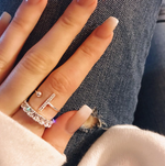 'Rive' Crystal Bar Open Ring