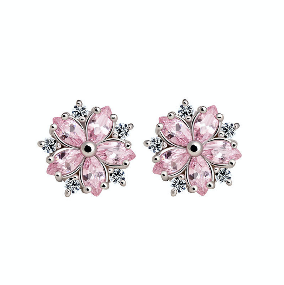 'Celise' Pink Sapphire Flower Earrings