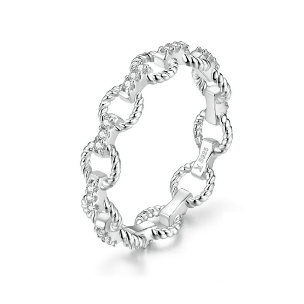'Everly' Crystal Chain Link Eternity Ring