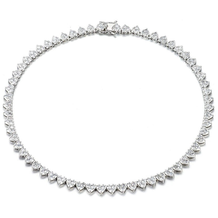 'Amore' Crystal Heart Eternity Necklace
