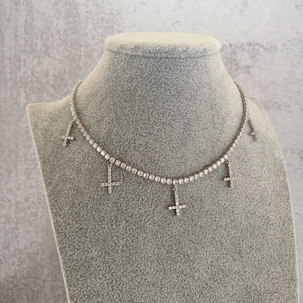 'Diamanté Cross' Tennis Necklace