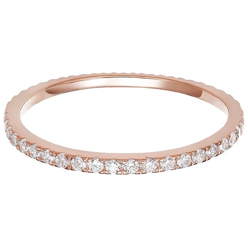 'Nicole' Micro Crystal Eternity Ring - Rose Gold