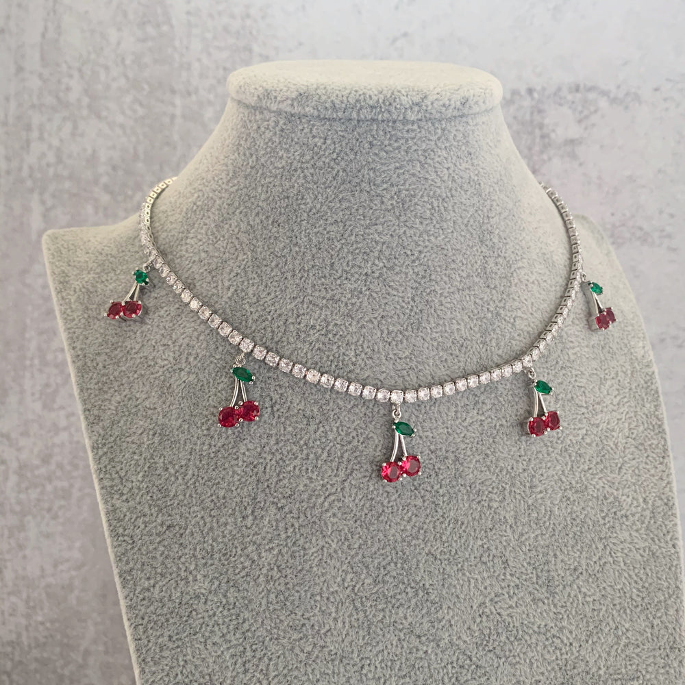 'Cherry' Crystal Tennis Necklace