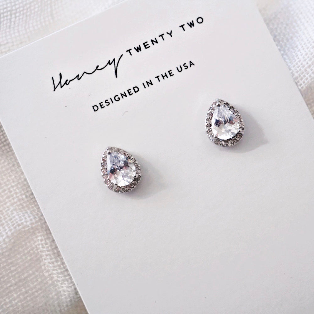 'Zurie' Pear Halo Crystal Earrings