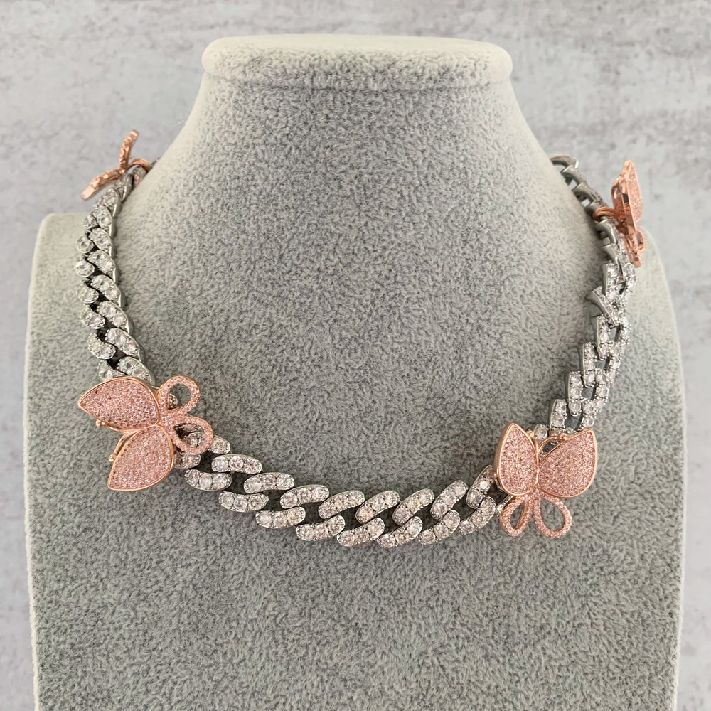 'Vivienne' Butterfly Cuban Link Necklace - Pink