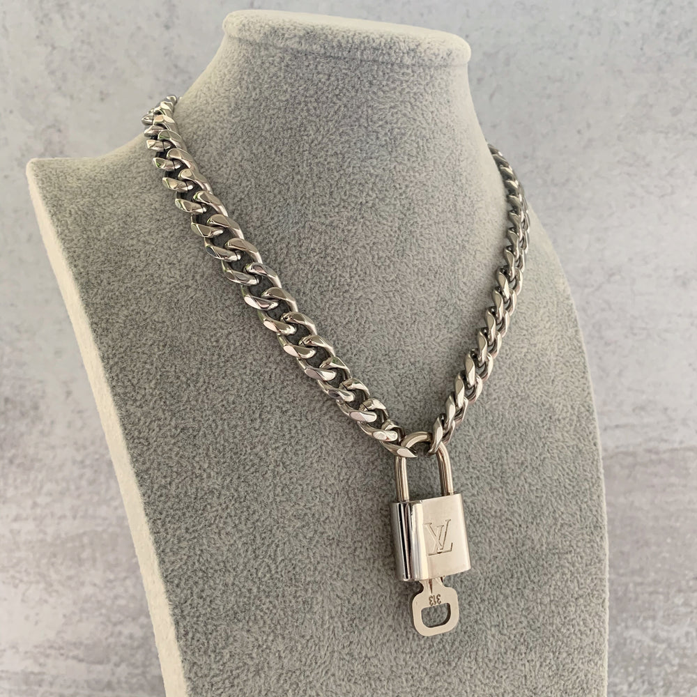 'Louis' Vintage LV Lock Chain Necklace