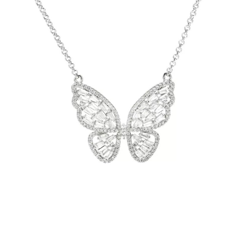 'Ayanna' Crystal Butterfly Necklace - Silver