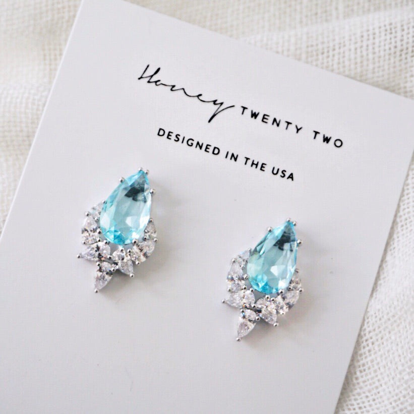 'Stella' Pear Cluster Crystal Earrings