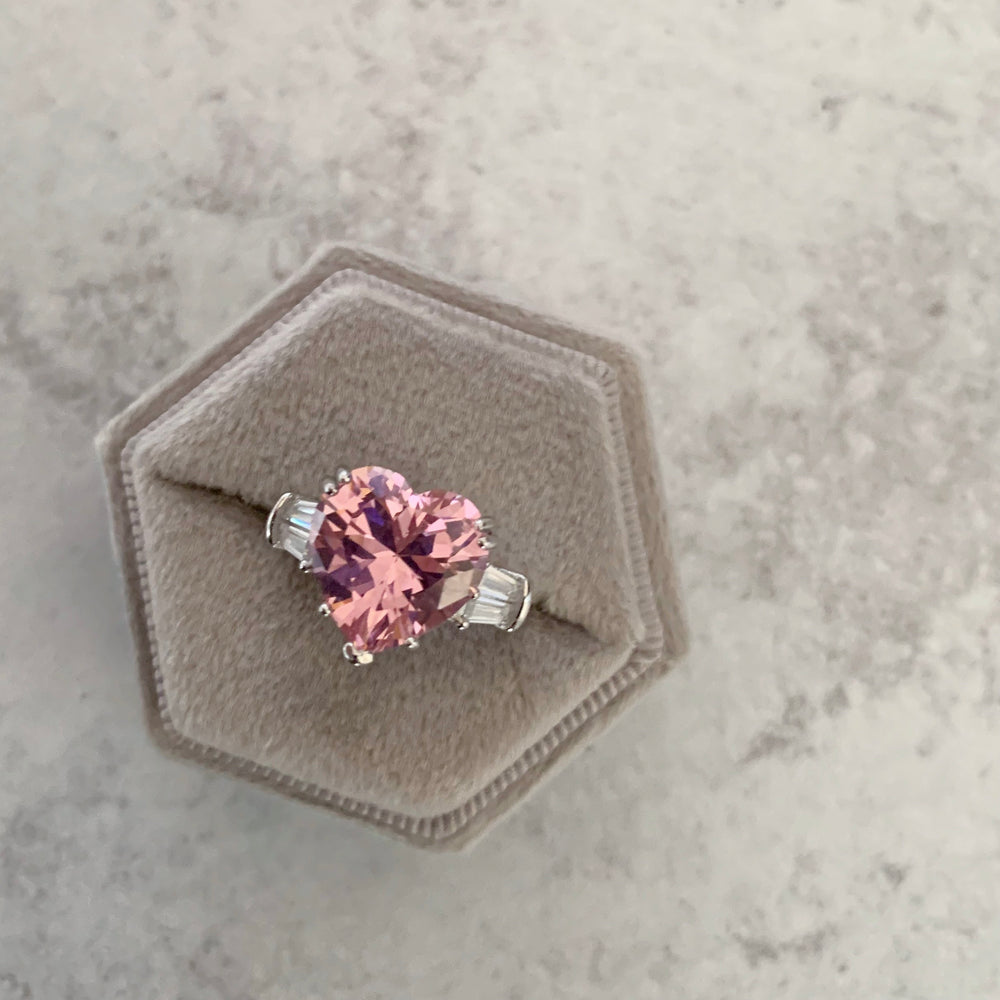 'Lucia' Heart-Cut Crystal Ring - Pink