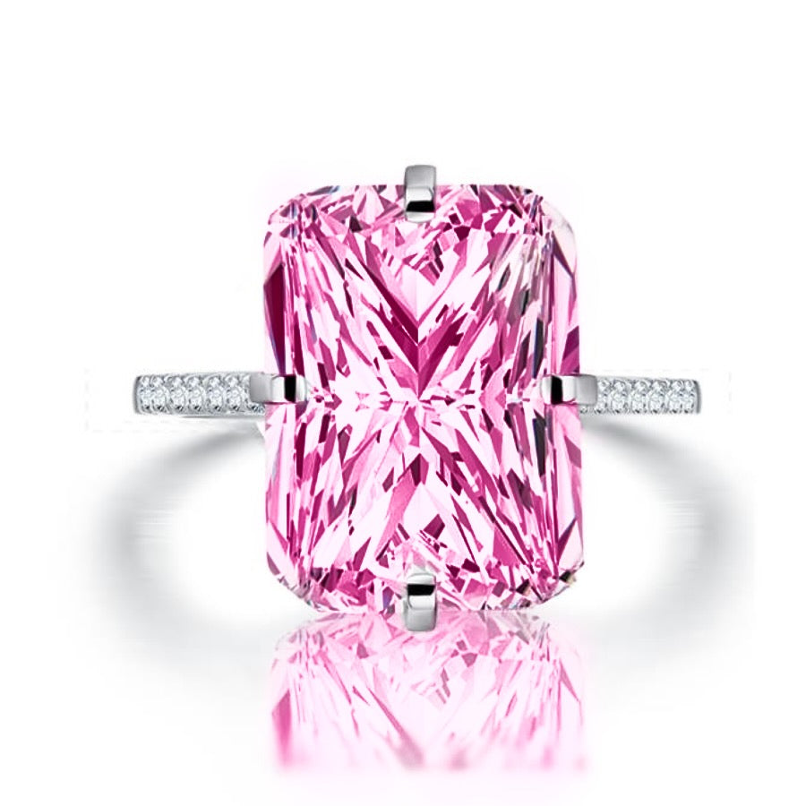 'Liana' Mega Cushion-Cut Crystal Ring - Pink