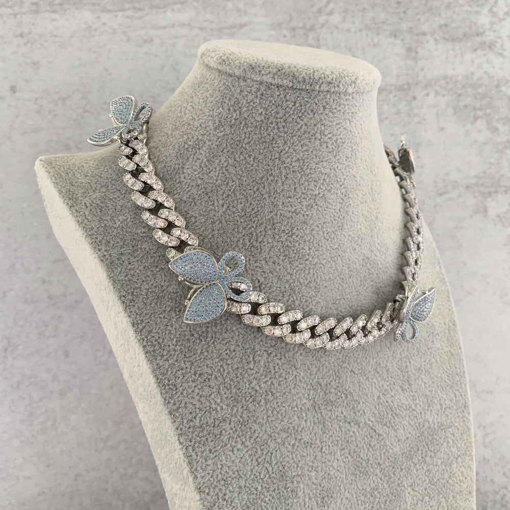 'Vivienne' Butterfly Cuban Link Necklace - Blue