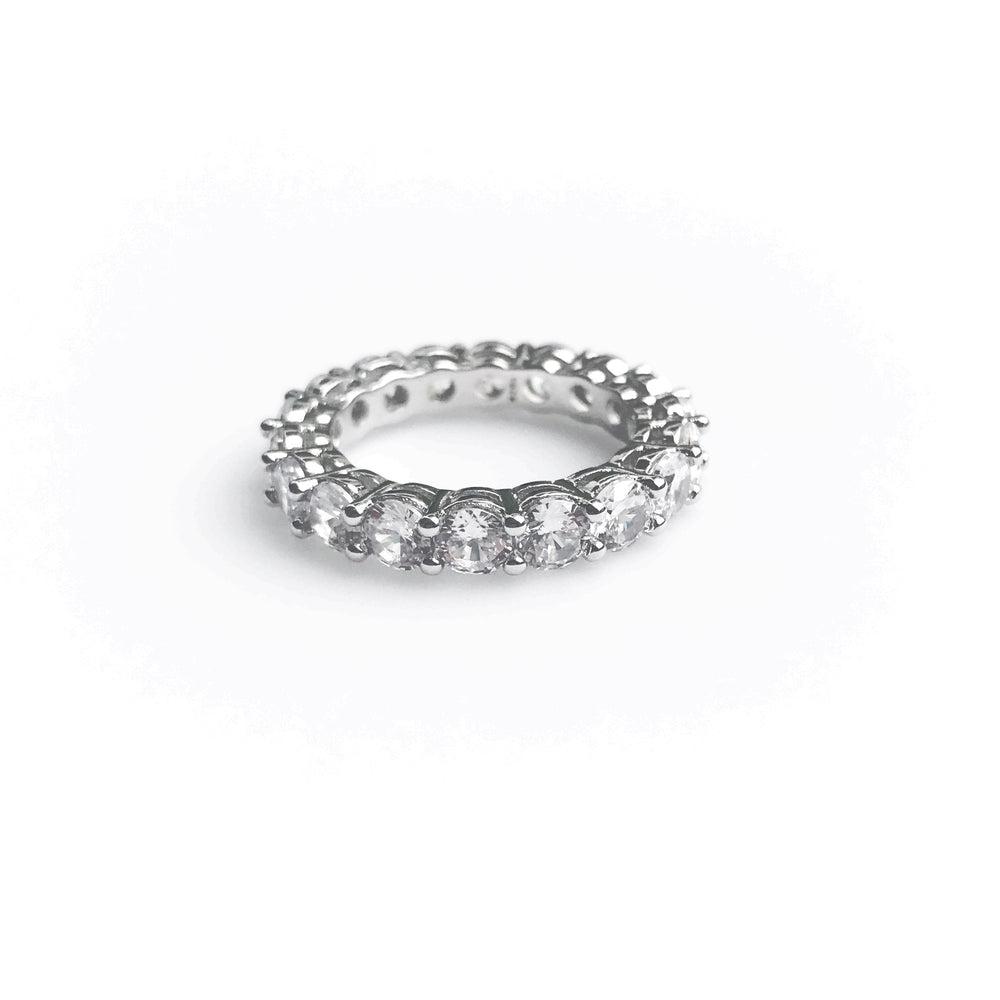 'Gemma' Round Eternity Ring by Honey Twenty Two, Timeless beauty of 'Gemma' available in sparkling cubic zirconia crystals for giving you amazing look for turning every head! Best round crystal adorable ring by Honey Twenty Two!