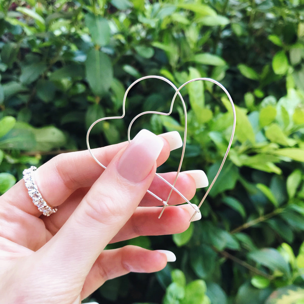 'Lorin' Open Heart Hoop Earrings