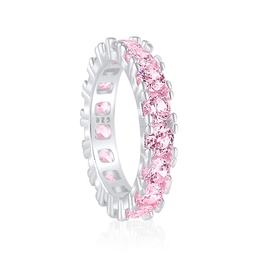 'Satine' Round Cut Eternity Ring - Pink
