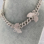 'Vivienne' Butterfly Cuban Link Necklace - Silver