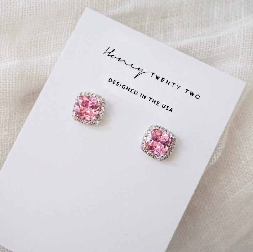 'Cassia' Cushion Crystal Earrings